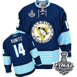 Men's Reebok Pittsburgh Penguins 14 Chris Kunitz Premier Navy Blue Third Vintage 2016 Stanley Cup Final Bound NHL Jersey