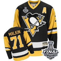 Men's CCM Pittsburgh Penguins 71 Evgeni Malkin Authentic Black Throwback 2016 Stanley Cup Final Bound NHL Jersey