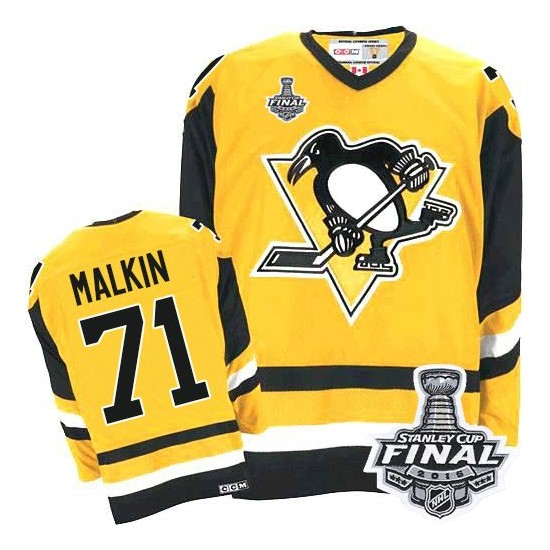 sale retailer 87dcc b11d3 Men's CCM Pittsburgh Penguins 71 Evgeni Malkin Authentic Gold Throwback  2016 Stanley Cup Final Bound NHL Jersey S,M,L,XL,XXL,XXX
