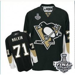 Youth Reebok Pittsburgh Penguins 71 Evgeni Malkin Authentic Black Home 2016 Stanley Cup Final Bound NHL Jersey