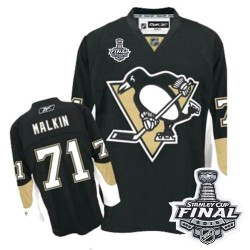 Youth Reebok Pittsburgh Penguins 71 Evgeni Malkin Premier Black Home 2016 Stanley Cup Final Bound NHL Jersey