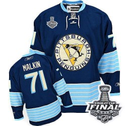 Youth Reebok Pittsburgh Penguins 71 Evgeni Malkin Premier Navy Blue Third Vintage 2016 Stanley Cup Final Bound NHL Jersey