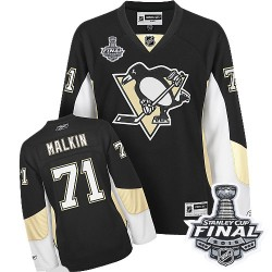 Women's Reebok Pittsburgh Penguins 71 Evgeni Malkin Premier Black Home 2016 Stanley Cup Final Bound NHL Jersey