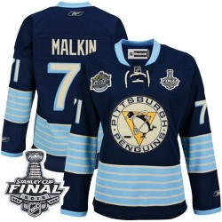 Women's Reebok Pittsburgh Penguins 71 Evgeni Malkin Premier Navy Blue Third Vintage 2016 Stanley Cup Final Bound NHL Jersey