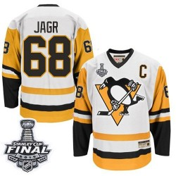 Men's CCM Pittsburgh Penguins 68 Jaromir Jagr Authentic White Throwback 2016 Stanley Cup Final Bound NHL Jersey