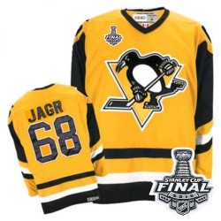 Men's CCM Pittsburgh Penguins 68 Jaromir Jagr Authentic Yellow Throwback 2016 Stanley Cup Final Bound NHL Jersey