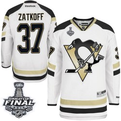 Men's Reebok Pittsburgh Penguins 37 Jeff Zatkoff Authentic White 2014 Stadium Series 2016 Stanley Cup Final Bound NHL Jersey