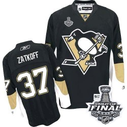 Men's Reebok Pittsburgh Penguins 37 Jeff Zatkoff Premier Black Home 2016 Stanley Cup Final Bound NHL Jersey