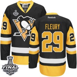 Men's Reebok Pittsburgh Penguins 29 Marc-Andre Fleury Premier Black/Gold Third 2016 Stanley Cup Final Bound NHL Jersey