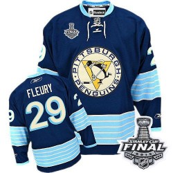 Youth Reebok Pittsburgh Penguins 29 Marc-Andre Fleury Authentic Navy Blue Third Vintage 2016 Stanley Cup Final Bound NHL Jersey