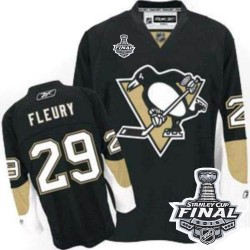 Youth Reebok Pittsburgh Penguins 29 Marc-Andre Fleury Premier Black Home 2016 Stanley Cup Final Bound NHL Jersey