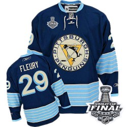 Women's Reebok Pittsburgh Penguins 29 Marc-Andre Fleury Authentic Navy Blue Third Vintage 2016 Stanley Cup Final Bound NHL Jerse