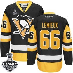 Men's Reebok Pittsburgh Penguins 66 Mario Lemieux Authentic Black/Gold Third 2016 Stanley Cup Final Bound NHL Jersey