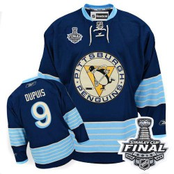 Men's Reebok Pittsburgh Penguins 9 Pascal Dupuis Authentic Navy Blue Third Vintage 2016 Stanley Cup Final Bound NHL Jersey