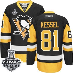 Men's Reebok Pittsburgh Penguins 81 Phil Kessel Premier Black/Gold Third 2016 Stanley Cup Final Bound NHL Jersey