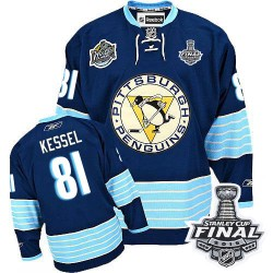 Men's Reebok Pittsburgh Penguins 81 Phil Kessel Premier Navy Blue Third Vintage 2016 Stanley Cup Final Bound NHL Jersey