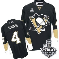 Men's Reebok Pittsburgh Penguins 4 Rob Scuderi Premier Black Home 2016 Stanley Cup Final Bound NHL Jersey