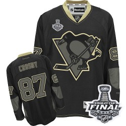 Men's Reebok Pittsburgh Penguins 87 Sidney Crosby Authentic Black Ice 2016 Stanley Cup Final Bound NHL Jersey
