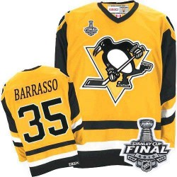 Men's CCM Pittsburgh Penguins 35 Tom Barrasso Authentic Yellow Throwback 2016 Stanley Cup Final Bound NHL Jersey