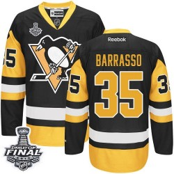 Men's Reebok Pittsburgh Penguins 35 Tom Barrasso Authentic Black/Gold Third 2016 Stanley Cup Final Bound NHL Jersey