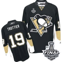 Men's Reebok Pittsburgh Penguins 19 Bryan Trottier Authentic Black Home 2016 Stanley Cup Final Bound NHL Jersey