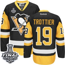 Men's Reebok Pittsburgh Penguins 19 Bryan Trottier Authentic Black/Gold Third 2016 Stanley Cup Final Bound NHL Jersey