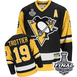 Men's CCM Pittsburgh Penguins 19 Bryan Trottier Authentic Black Throwback 2016 Stanley Cup Final Bound NHL Jersey